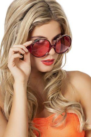 Brille runde Gläser rot