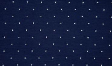 Baumwoll-Jersey Sterne marineblau-weiß