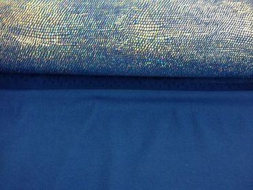 Jersey-Stretch mit Holo-Punkten blau