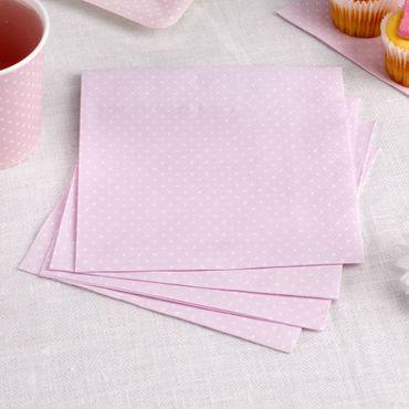 16 Servietten Polka Dots rosa