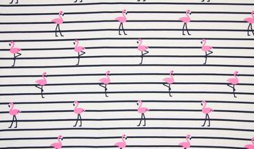 Baumwoll-Jersey Flamingo weiß-blau-pink
