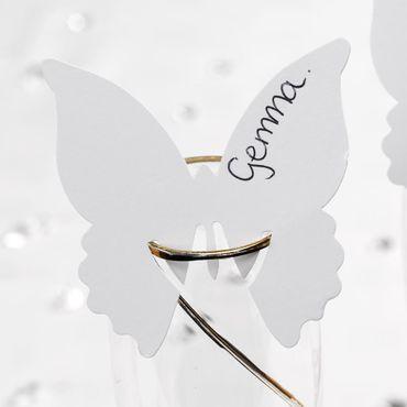 10 Namenskärtchen Schmetterling weiß