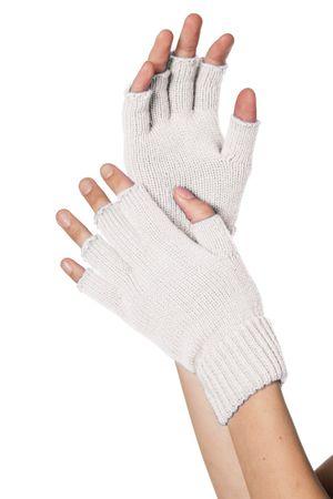 Handschuhe fingerlos weiß