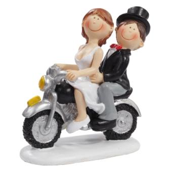 Figur Hochzeitspaar auf Motorrad