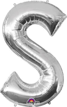 Folienballon Buchstabe S silber - 88cm