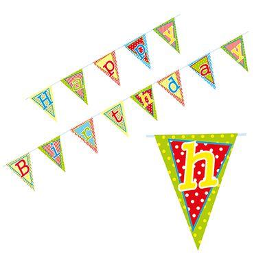Wimpelkette Happy Birthday lackiert