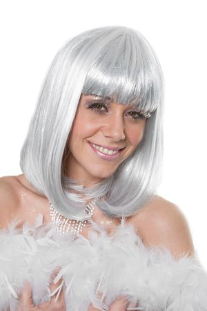 Perücke Glitzer weiß-silber