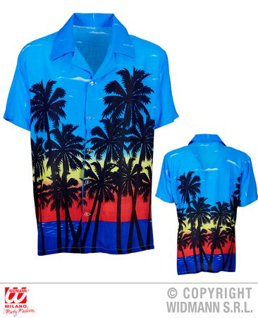 Hawaiiihemd blau mit Palmen – Bild 1