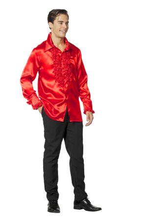 Satin-Rüschenhemd deluxe rot