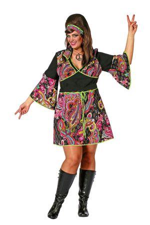 Kostüm Hippie Lady schwarz inkl. Stirnband