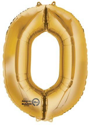 Folienballon Zahl 0 gold - 88cm
