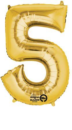Folienballon Zahl 5 gold - 88cm