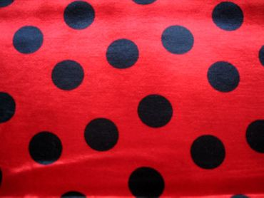 Satin angerauht Punkte rot-schwarz