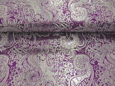 Brokat Paisley lila-silber
