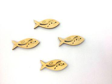 7 Fische mit Tribal Holz 45 mm
