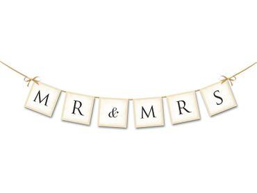 Wimpelkette Mr. & Mrs. creme – Bild 1