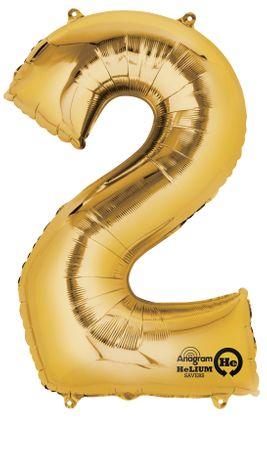 Folienballon Zahl 2 gold - 88cm