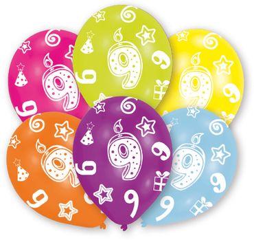 6 Zahlenballons 9
