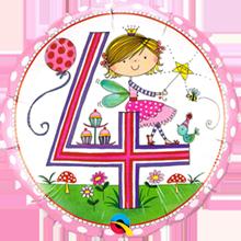 Folienballon Rachel Ellen 4 Geburtstag Madchen Bei Party Schlaudt
