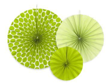 3 Deko-Rosetten apfelgrün-weiß – Bild 1