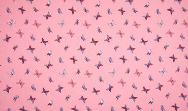 Baumwoll-Jersey Schmetterlinge rosa