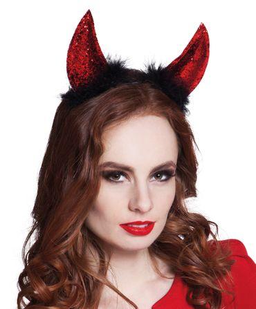 Haarreif Teufel Glitter rot