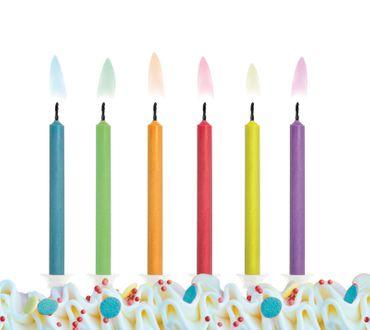 6 Geburtstagskerzen Flamme bunt