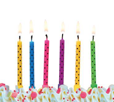 6 Geburtstagskerzen Punkte