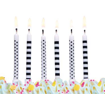 6 Geburtstagskerzen schwarz-weiß