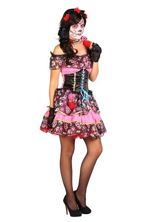 Day of the Dead-Kleid rosa