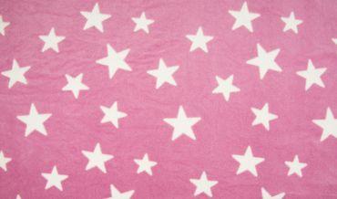 Fleece Sterne rosa-weiß