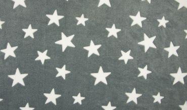 Fleece Sterne grau-weiß