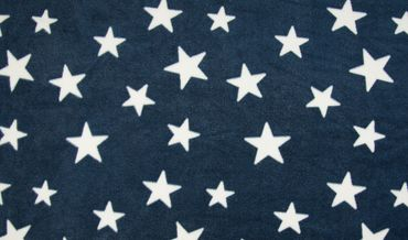 Fleece Sterne dunkelblau-weiß