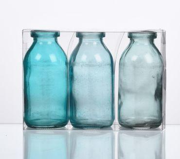 3 Glasflaschen Blau-Töne