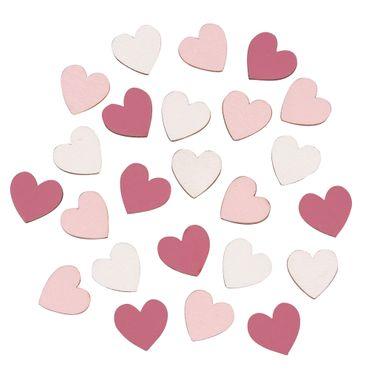 24 Holzstreuteile Herzchen