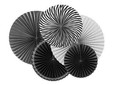 5 Deko-Rosetten schwarz-weiß