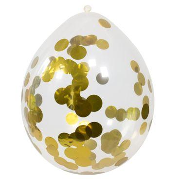4 Ballons mit Konfetti gold