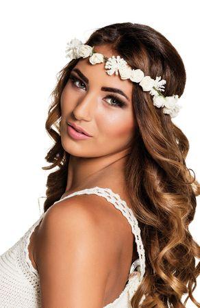 Blumen-Haarband Ibiza Rosen weiß – Bild 1