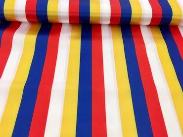 Polyestersatin Streifen rot-weiß-gelb-blau – Bild 1