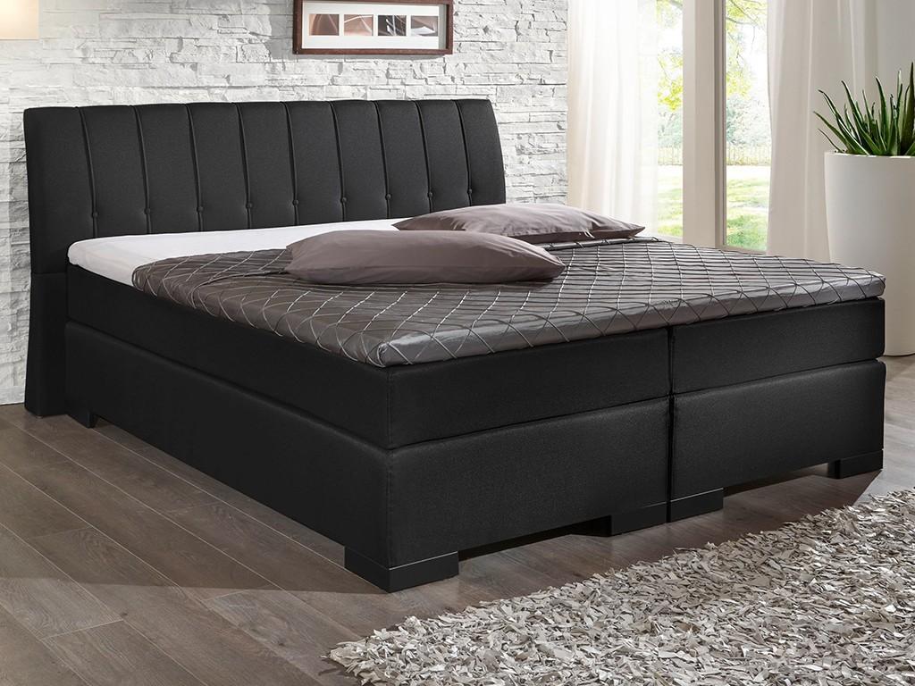 boxspringbett royal 180x200 cm topper stoff flachgewebe schwarz, Hause deko