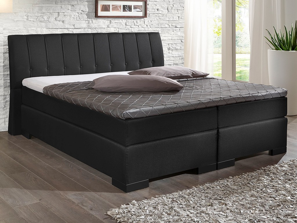 boxspringbett royal 180x200 cm topper stoff flachgewebe schwarz schlafen boxspringbetten. Black Bedroom Furniture Sets. Home Design Ideas