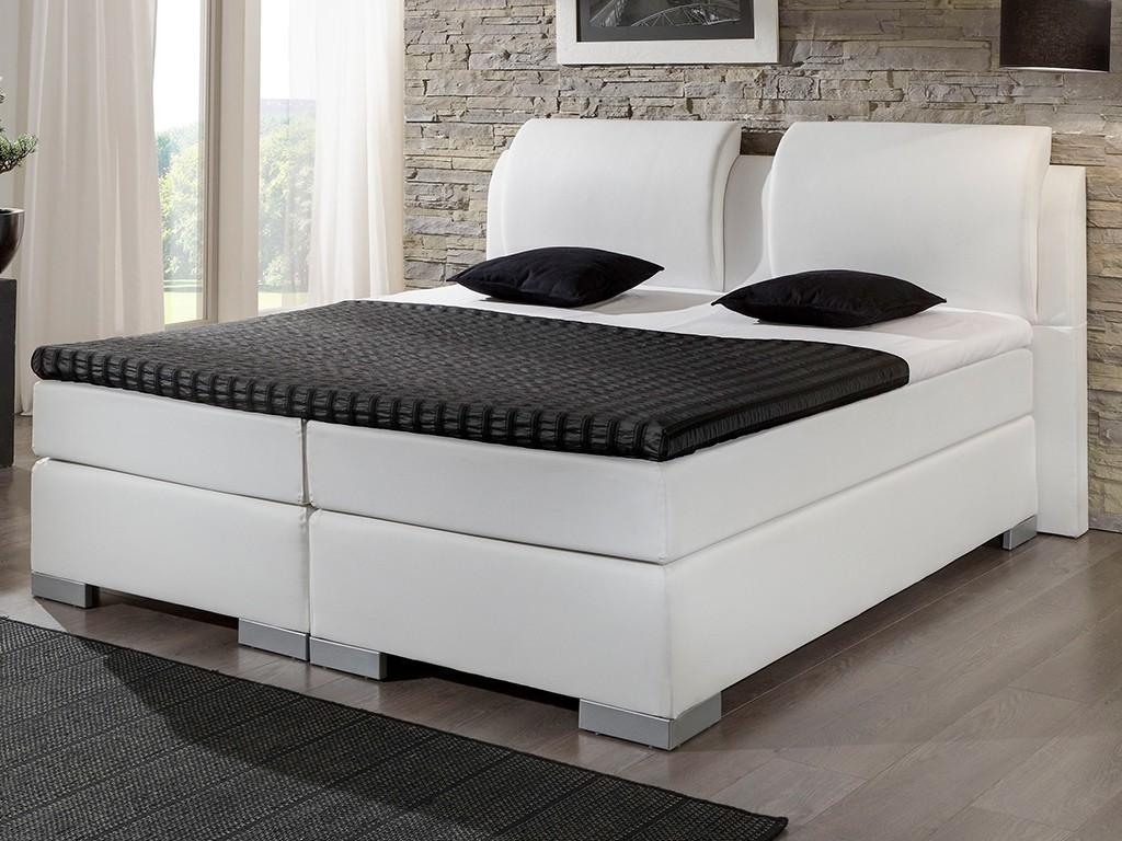 boxspringbett luxus 200x200 cm topper lederlook wei. Black Bedroom Furniture Sets. Home Design Ideas