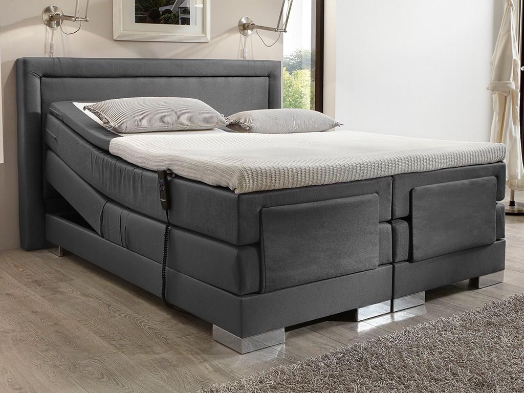 boxspringbett champion 180x200 cm topper elektrisch stoff flachgewebe grau chrom schlafen. Black Bedroom Furniture Sets. Home Design Ideas