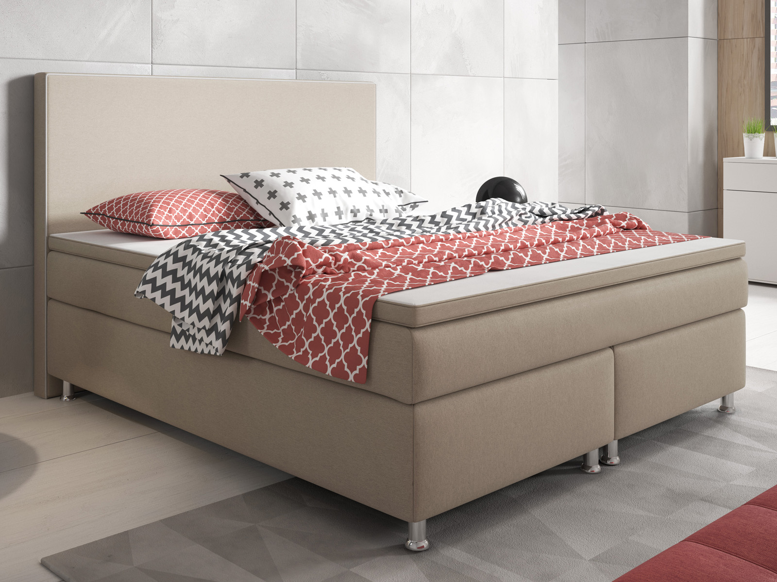 [Paket] Boxspringbett King Size 180x200 cm Webstoff Muddy