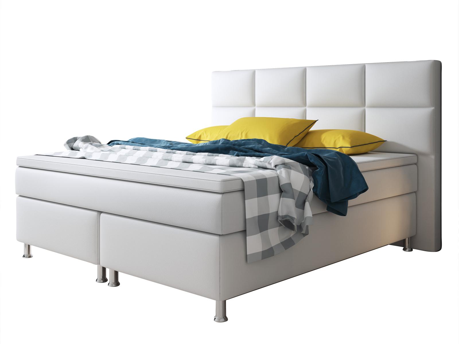 boxspringbett miami 180x200 cm kunstleder wei schlafen. Black Bedroom Furniture Sets. Home Design Ideas