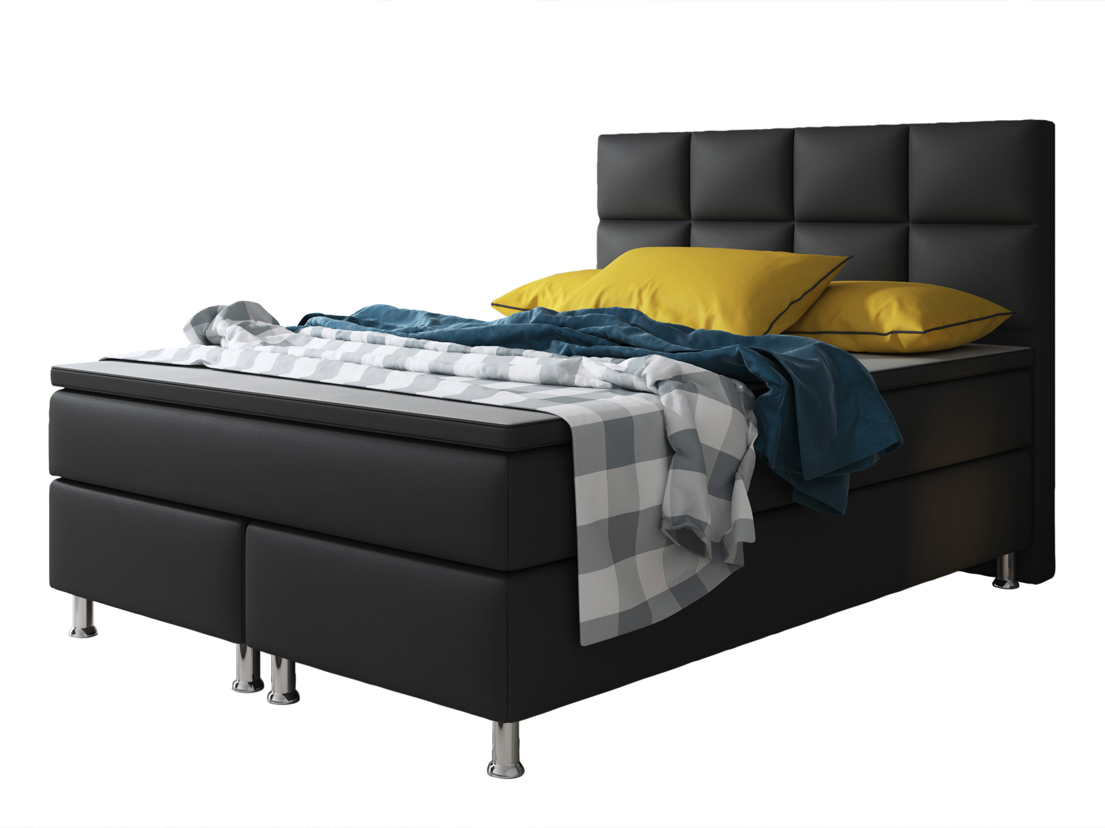 boxspringbett miami 140x200 cm kunstleder schwarz schlafen boxspringbetten. Black Bedroom Furniture Sets. Home Design Ideas