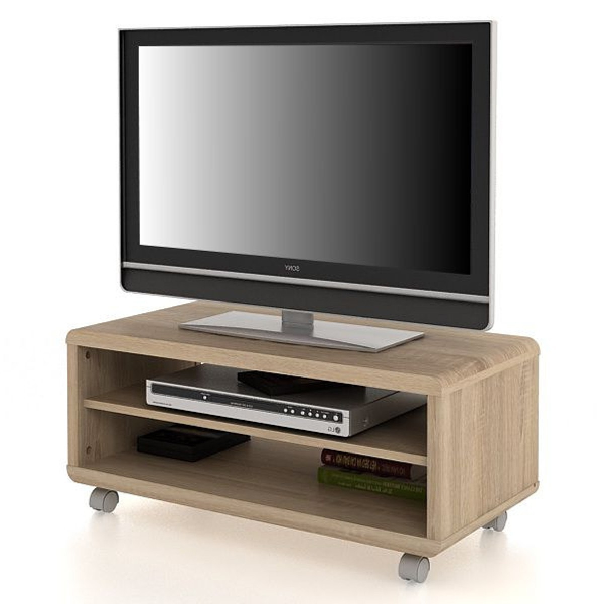 tv lowboard serra mit rollen in sonoma eiche wohnen tv hi fi m bel. Black Bedroom Furniture Sets. Home Design Ideas