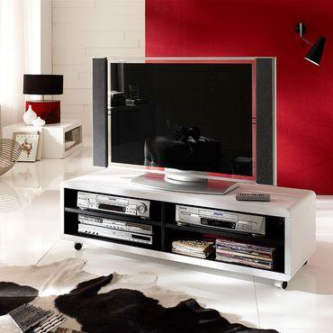 TV-Lowboard Jeff 7 XL Weiß-schwarz TV-Schrank  – Bild 3