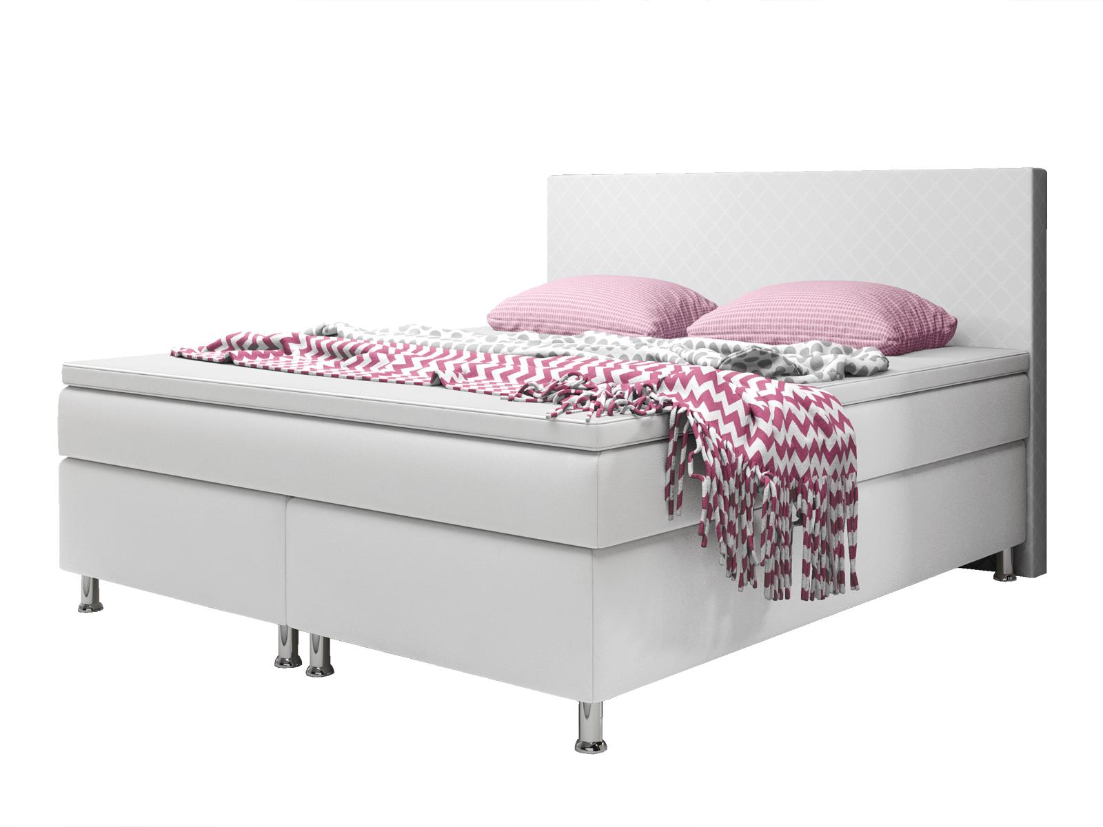 boxspringbett madrid 180x200 cm kunstleder wei schlafen boxspringbetten. Black Bedroom Furniture Sets. Home Design Ideas