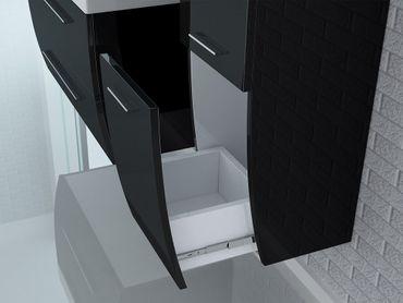 4tlg. Badmöbel Set Milano XL 120 cm Schwarz Hochglanz – Bild 6